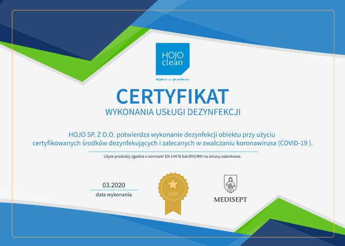 certyfikat sprzątania i dezynfekcji