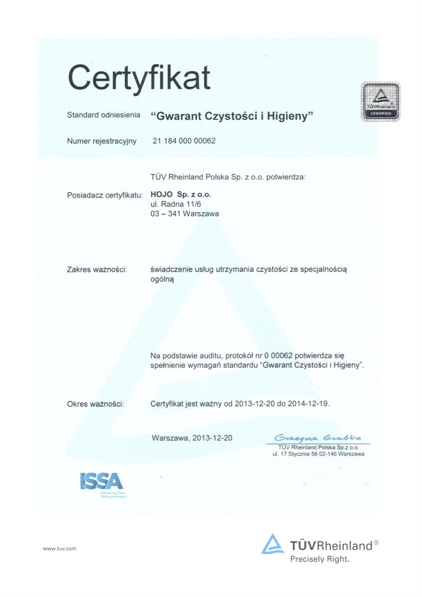 Zdjęcie Certifikat